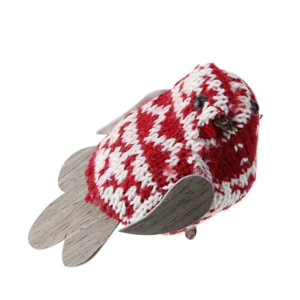 "3.25"" Red and White Knit Bird Decorative Clip-On Ornament"