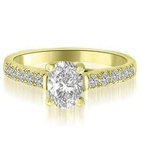 0.95 cttw. 14K Yellow Gold Cathedral Trellis Oval Cut Diamond Engagement Ring