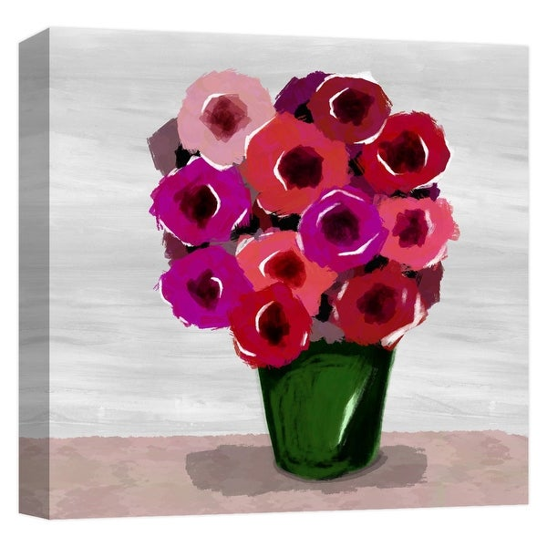 """PTM Images 9-124747 PTM Canvas Collection 12"""" x 12"""" - """"Abstract Flower Pot"""" Giclee Flowers Art Print on Canvas"""
