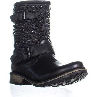 Steve Madden Marcoo Studded Zip Up Combat Boots, Black/Black