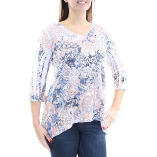 Womens White Orange Floral 3/4 Sleeve V Neck Evening Top Size L