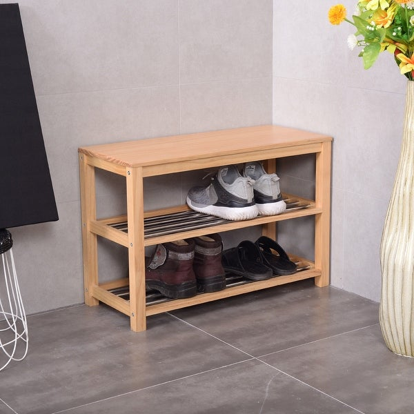 Shop Costway 3 Tier Wooden Shoe Storage Bench Racks Shelf