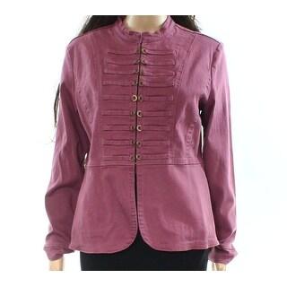 Live a Little NEW Purple Women Size Medium M Clasp-Front Military Jacket