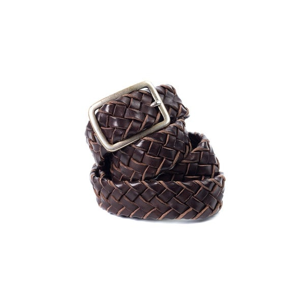 Brunello Cucinelli Two-Toned Brown Braided Leather Rustic Belt