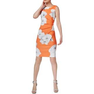 Calvin Klein Womens Petites Casual Dress Floral Printed Starburst - 2p
