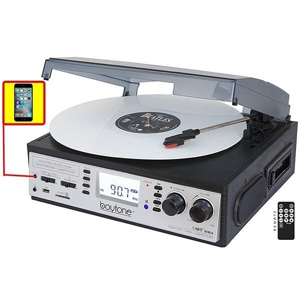 Boytone BT-19DJS-C 3-speed Turntable, 2 Built in Speakers Large Digital Display AM/FM, Cassette, USB/SD/AUX/MP3, Recorder & WMA