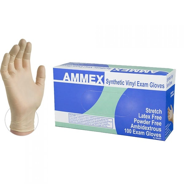 AMMEX VSPF Ivory Stretch Synthetic Vinyl Exam Latex Free Disposable Gloves (Box of 100)