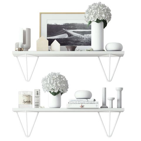 """Wallniture Colmar 24"""" Living Room Wall Shelves with White Brackets, White, Set of 2"""