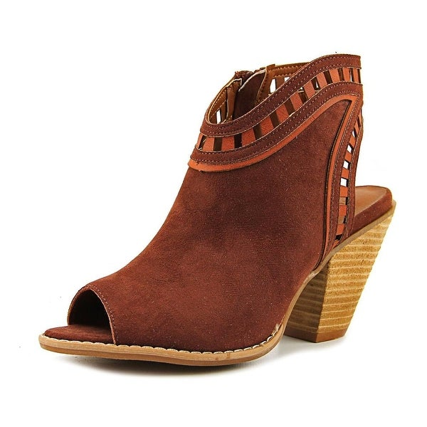 Dolce by Mojo Moxy Maddie Women Peep-Toe Canvas Brown Bootie