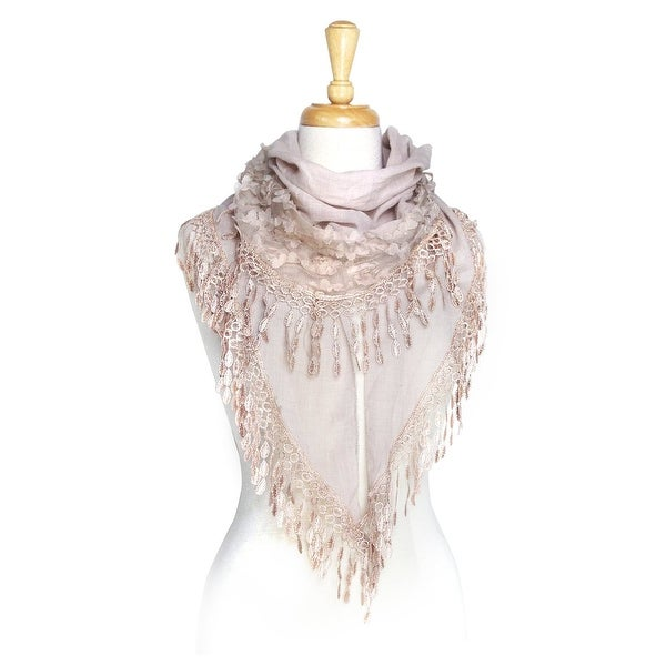 91c17c891cae9 Shop Women's Lightweight Fancy Triangle Lace Scarf with Floral - On Sale -  Free Shipping On Orders Over $45 - Overstock - 11996920