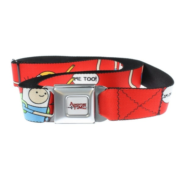 Adventure Time Seatbelt Belt - Finn and Jake on Red