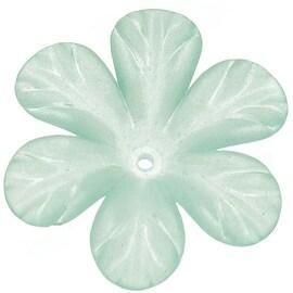 Lucite 6 Petal Tropical Flower Beads Matte Light Sea Green 30mm (4)
