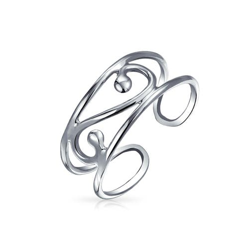 Craved Swirl Cut Out Filigree Midi Wide Band Toe Ring 925 Silver Sterling Adjustable