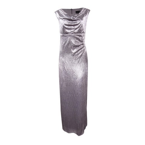 Connected Women's Metallic Draped Slit Gown - Pewter