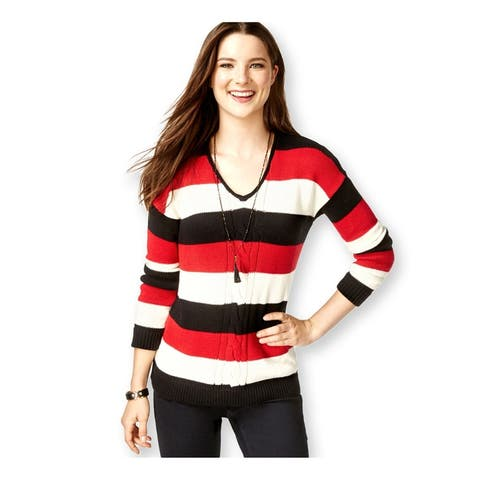 American Living Womens Striped LS Pullover Sweater, Black, XX-Large