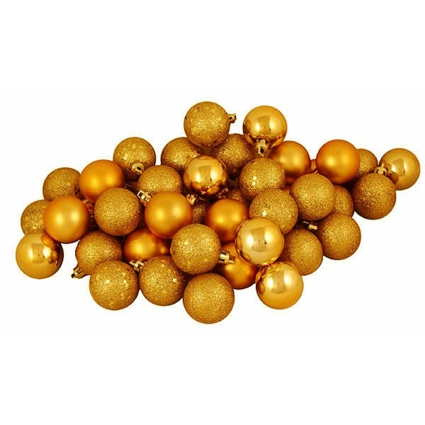 "60ct Antique Gold Shatterproof 4-Finish Christmas Ball Ornaments 2.5"" (60mm)"