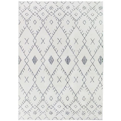 "Soft Plush Boho Moroccan Pile Shag Accent Rug 5"" x 7"" - White - 5' x 8'/Surplus - 5' x 8'/Surplus"