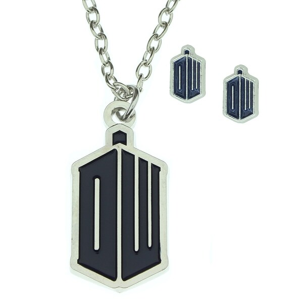 Doctor Who EXCLUSIVE DW Tardis Logo Pendant Necklace and Earring Set