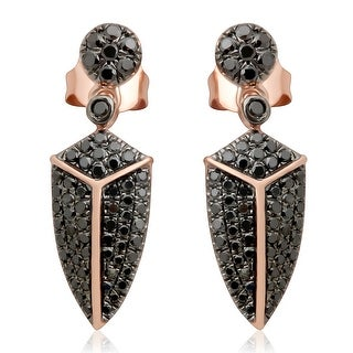 0.80 Carat Round Brilliant Cut Black Diamond Leaf style Pushback Drop Earring