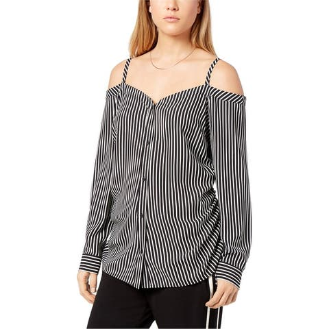 Bar Iii Womens Striped Off The Shoulder Blouse
