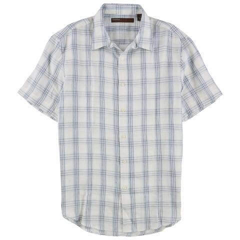 Perry Ellis Mens Linen Plaid Button Up Shirt, Blue, X-Large