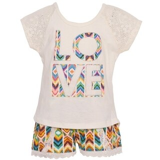 "Dollhouse Little Girls Ivory ""Love"" Aztec Lace Trim 2 Pc Shorts Outfit"