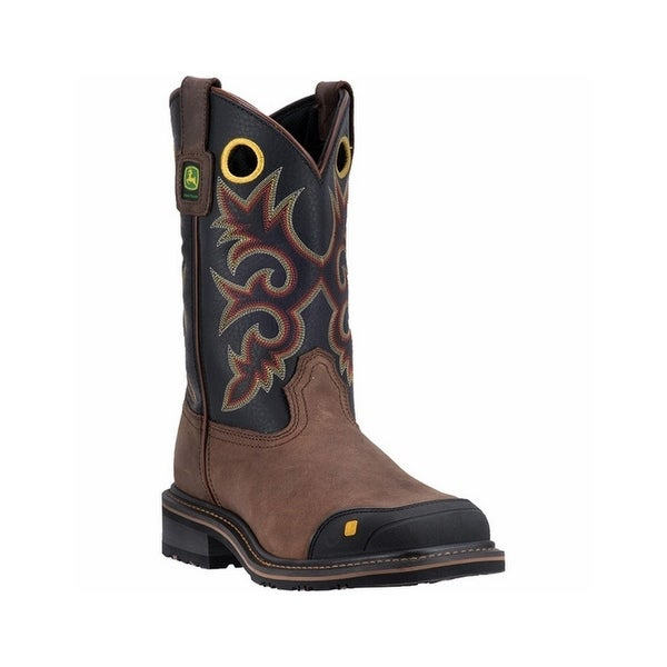 John Deere Work Boots Mens Leather Rubber Steel Black Brown