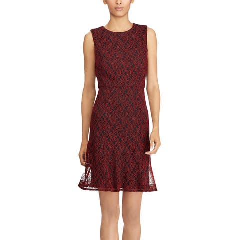 American Living By Ralph Lauren Womens Ellie A-line Lace Dress 16 Black & Red