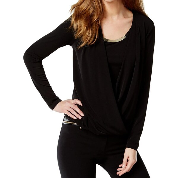 Calvin Klein Womens Blouse Surplice Long Sleeves