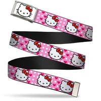 Hello Kitty Face Fcg White Chrome Frame Hello Kitty W Dots & Hearts Web Belt