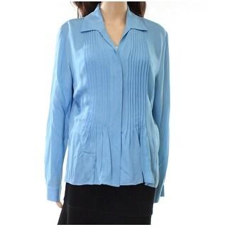 Jones New York NEW Blue Tuxedo Pleat Women's Size 12 Collared Blouse