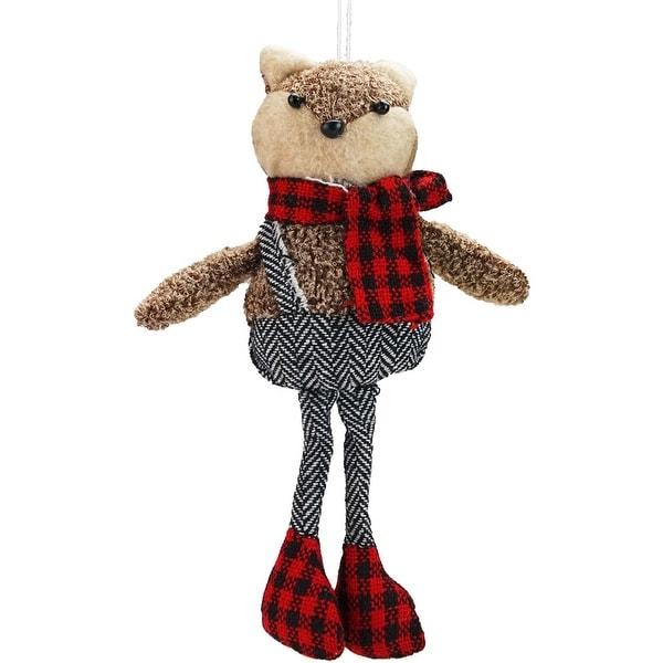 """9"""" Alpine Chic Brown Stuffed Fox in Black and White Overall Shorts Christmas Ornament"""