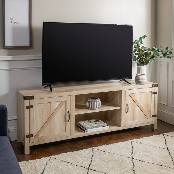 The Gray Barn Firebranch 70-inch Barn Door TV Console. Opens flyout.