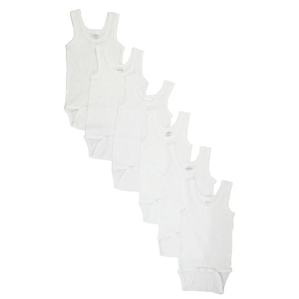 Bambini White Rib Knit White Sleeveless Tank Top Bodysuit 6-Pack