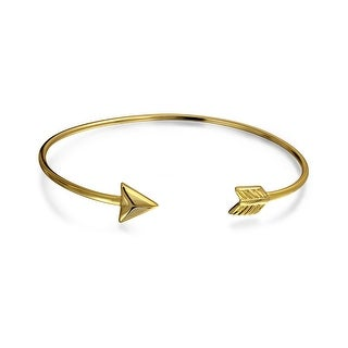 Bling Jewelry Gold Plated 925 Silver Adjustable Arrow Stackable Bangle
