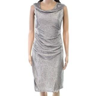 Laundry By Shelli Segal NEW Gold Womens Size 6 Gathered Sheath Dress