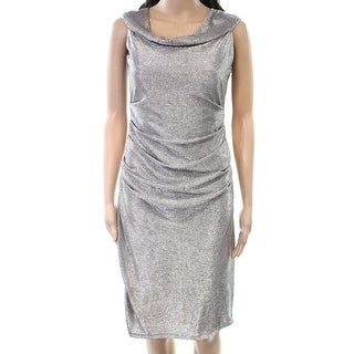 Laundry NEW Silver Womens Size 4 Cowl Neck Sleeveless Sheath Dress
