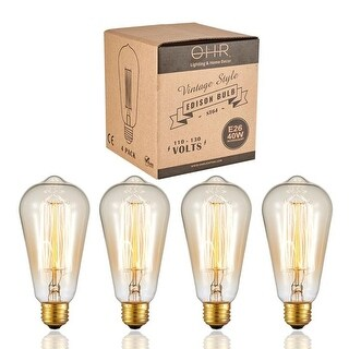 Ohr Lighting® Vintage Style Edison Bulb 40W - 4 PACK