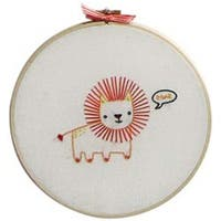 "Lion - Penguin & Fish Embroidery Kits 8"" Round Stitched In Floss"
