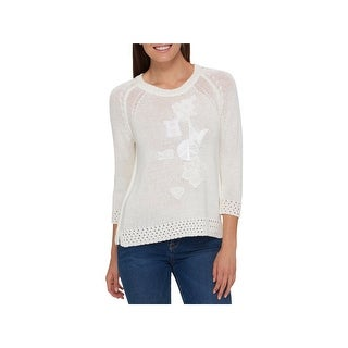Tommy Hilfiger Womens Pullover Sweater Embroidered Applique