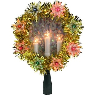 "7"" Gold Tinsel Wreath with Candles Christmas Tree Topper - Multi Lights - N/A"