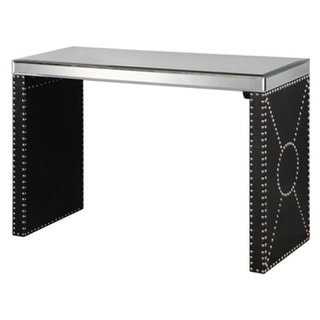 """48"""" Chrome Studded Black Faux Leather and Belveled Mirror Top Decorative Sofa Console Table"""