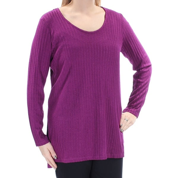 0dff0903cd Shop KENSIE Womens Purple Slitted Long Sleeve Scoop Neck Hi-Lo Sweater  Size  L - On Sale - Free Shipping On Orders Over  45 - Overstock - 23562511
