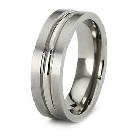 7mm Polished and Satin Finish Titanium Ring (Sizes 6-12)