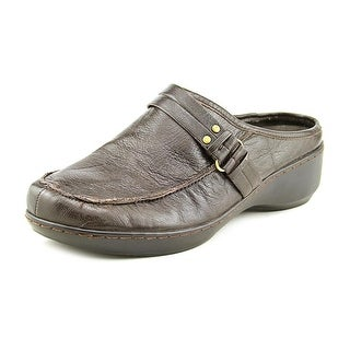 Easy Spirit Detrick Women Round Toe Leather Brown Mules