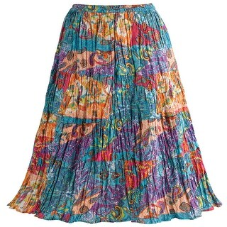 Catalog Classics Women's Boho Crinkle Maxi Skirt - Peasant Floral Paisley Print