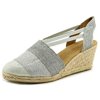 White Mountain Supreme Women Round Toe Canvas Silver Espadrille