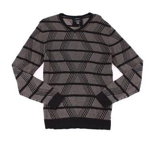 Alfani Black Beige Mens Size XL Striped Chevron V-Neck Sweater