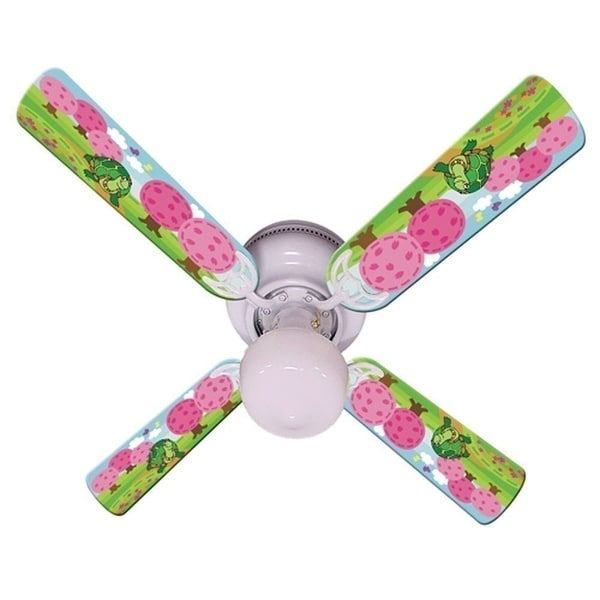 Turtle Pink Trees Print Blades 42in Ceiling Fan Light Kit - Multi