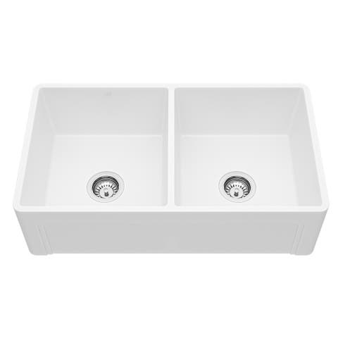 VIGO White 33-inch Casement Front Matte Stone Double Bowl Kitchen Sink